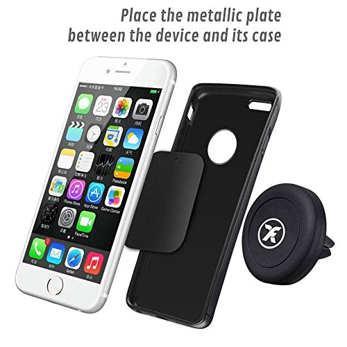 BrainWizz® Vent Magnet - Phone Holder for Car Air Vent, Magnetic Cradle Mount Dock holder for Iphone 6 / 6 plus / 5 / 5S / 5C / 4 / 4S , Samsung Galaxy S6 / S5 / S4 / Note 4/3 , Google Nexus, LG G3, LG G4 and any other smartphone or GPS device