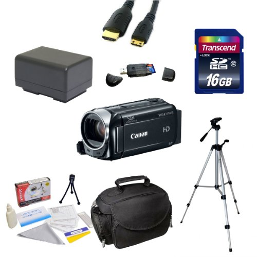 Canon VIXIA HF R400 HD 53x Advanced Zoom Camcorder with Best Value Extra Kit: 16GB High Speed SDHC Dance-card + Card Reader + Extra Battery + Mavin 54 Tripod + Padded Gadget Bag + HDMI Line + Cleaning Kit + More