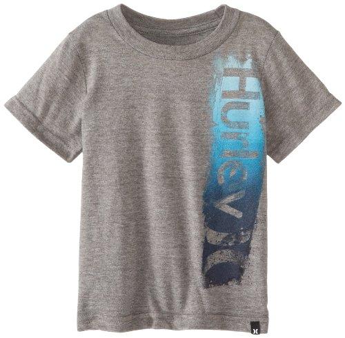 Hurley Little Boys' Brusheezy Short Sleeve Tee Toddler, Medium Grey Heather, 3T