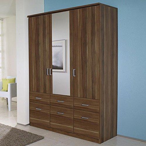 Kleiderschrank braun 3 Türen B 136 cm kernnuss Schrank Drehtürenschrank Wäscheschrank Spiegelschrank Kinderzimmer Jugendzimmer günstig bestellen