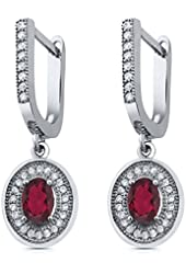 1.60 Ct Oval Red Mystic Topaz 925 Sterling Silver Dangle Earrings