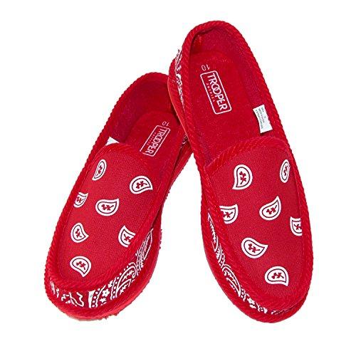 Trooper America Men's Bandana Print Slip On Slipper Shoe, 11, Red (America Shoes Men compare prices)