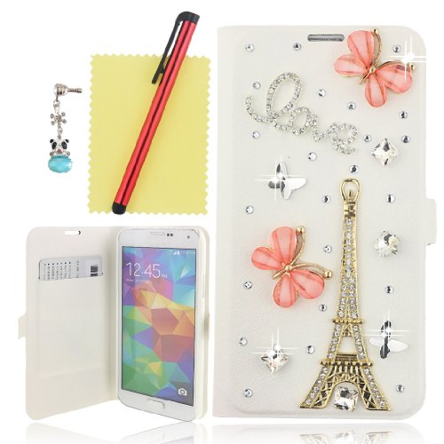 Ancerson 3D Handmade Bling Crystal Diamond Rhinestones Pink Butterfly Golden Eiffel Tower Silvery Love Flowers Decorate Magnetic Buckle Pu Leather Protective Case Cover Sleeve Shell Skin With Credit/ Id Card Slot Wallet Slip Stand Holder For Samsung Galax