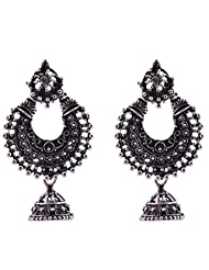 Ganapathy Gems Oxodised Silver Chand Bali With Jhumka Drop And Stud