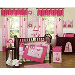 Pink and Green Flower Collection Baby Girl Floral Garden Bedding 9pc Crib Set Sweet Jojo Designs