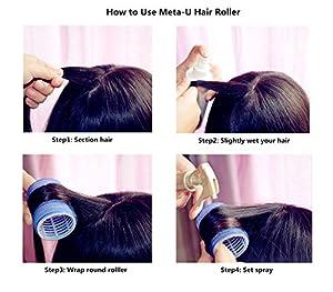 Meta-U 10pcs LARGE Velcro Cling Rollers Curlers Hair Style Salon DIY Pink 4.9cm DIA by Meta-U