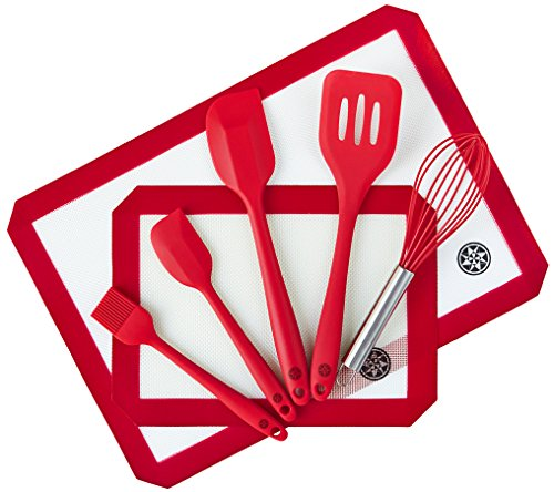 StarPack Premium Silicone Baking Mats and Utensils Set (7 Piece) with Bonus 101 Cooking Tips