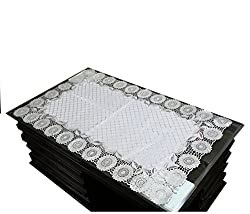 Kuber Industries Table Runner In Virgin Viny Soft Fabric Silver (24*40 Inches)