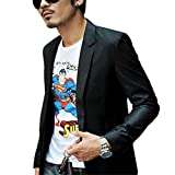 Etosell Stylish Men¡¯s Slim Fit Blazer Coat One Button Suit Jacket Pop Black