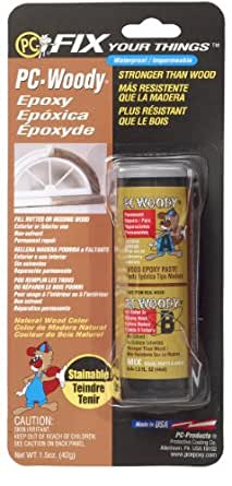 PC Products PC-Woody Two-Part Wood Repair Epoxy Paste, 1.5 oz in Two Jars, Tan