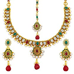 Sukkhi Fine Gold Plated American Diamond Necklace Set For Women