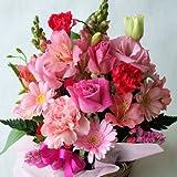 季節のお花おまかせフラワーアレンジメントB(ピンク系)「誕生日」「お祝い」「お見舞い」「ギフト」「花の産地千葉県館山から発送」