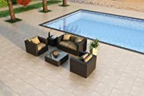 Hot Sale Urbana 4 Piece All-Weather Wicker Patio Sofa Set with Sunbrella Heather Beige (5476-0000) Cushions