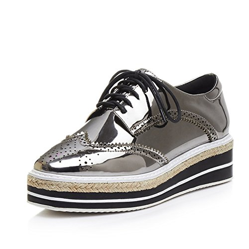 MINIVOG Platform Wingtips Square Toe Women Oxfords Shoe Gun 7