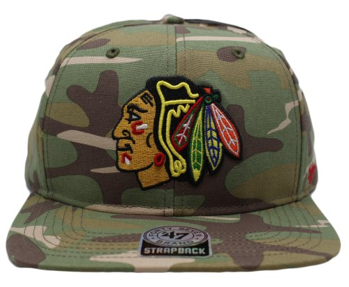 47 Brand Chicago Blackhawks NHL Men's Camouflage Flat Bill Buckle Back Cap OSFA at Amazon.com
