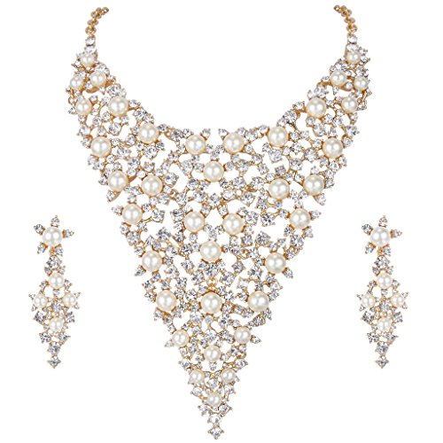 Ever Faith Austrian Crystal Simulated Pearl Collar Jewellery Set Gold-Tone Ivory Color N06078-2 steampunk buy now online
