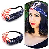 AKOAK New American Flag Headband USA 4th Of July Head Wrap Fashion Elastic Hair Bands Bandana Turban Hair Accessories