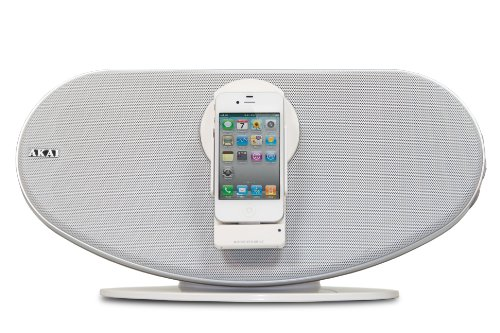 Akai ASB12WE Lautsprecher mit Apple iPod/iPhone/iPad Docking-Anschluss und Bluetooth weiß