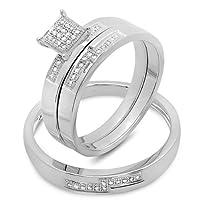 0.15 Carat (ctw) Round White Diamond Men and Women's Micro Pave Engagement Ring Trio Bridal Set from DazzlingRock