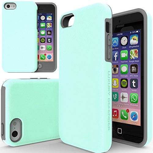 iPhone 5C Case, TEAM LUXURY [Turquoise Mint] iPhone 5c Case [Double Layer] Defender Series [Shock Absorbing] iphone 5c Case (Turquoise/ Gray) (5c Phone Case Gems compare prices)
