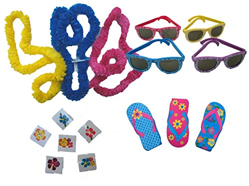 Find Bargain Luau Party Favors for 12 - 12 Leis, 12 Flip Flop Notebooks, 12 Hibiscus Sunglasses, 36 ...