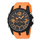 U.S. Polo Assn. Men's US9057 Analog-Digital Black Dial Orange Rubber Strap Watch