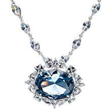 Wish Diamond Necklace - Blue CZ