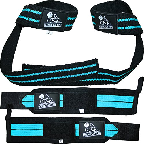 Nordic Lifting Unisex Wrist Wraps and Lifting Straps Bundle for Weightlifting, Crossfit, Workout, Gym, Powerlifting, Bodybuilding (Black/Aqua Blue)