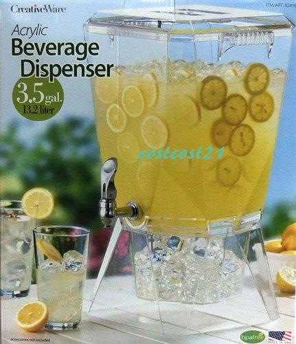 Acrylic Beverage Dispenser この 夏 割れない 高性能  アクリル製 飲料 ディスペンサー 3.5ガロン 13.2L CREATIVE WARE 家族で 友達で 気分は ハワイ リゾート ホテル