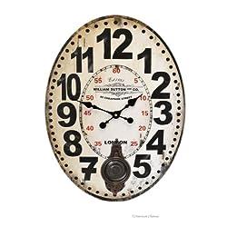 Large 24 London William Sutton & Co. Oval Decor Pendulum Wall Kitchen Clock