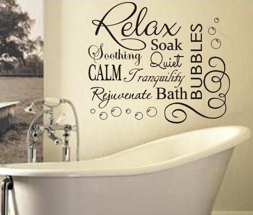 5055670880921 fsss sticker mural en vinyle pour salle de bain texte relax soak bubbles - Stickers Salle De Bain Texte
