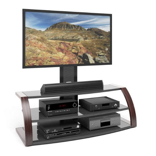 CorLiving TML-596-T Malibu TV Stand with Mount and Metal Uprights, Wood Print Finish (Upright Tv Stand compare prices)