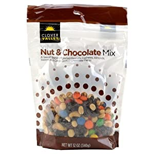 Clover Valley Trail Mix Nut And Chocolate Blend Raisins Chocolate Pieces Roasted Peanuts Cashews Almonds 12 Oz