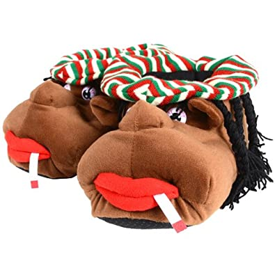 Mens Cosy Rasta Man Character Plush Novelty Slippers - Size UK 9