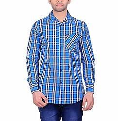 Cotblend Men's Casual Shirt (COTBLEBD17-M, Blue, M)