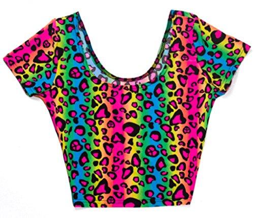 Neon Rainbow Animal Leopard Print Tank Top Sexy Spandex Shirt Rave Costume (Small)