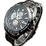 Men's Quartz Sport Stainless Steel Wrist Watch Black Strap Black Dial