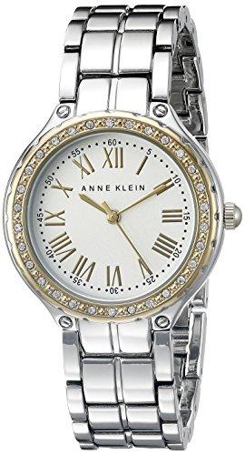 Anne Klein Women's AK/2095SVTT Swarovski Crystal-Accented Two-Tone Bracelet Watch