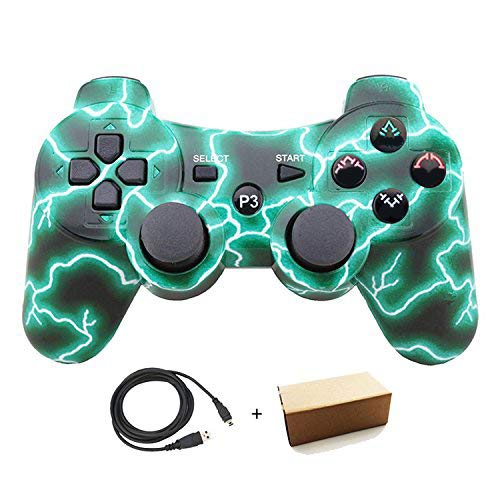 Molgegk Wireless Bluetooth Controller For PS3 Double Shock - Bundled with USB charge cord (Green Lightning) (Color: one Green)