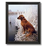 Golden Retriever Dog Lake Duck Animal Landscape Home Decor Wall Picture Black Framed Art Print