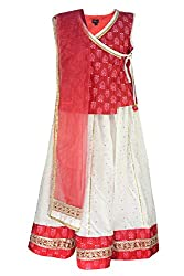 COTTON WHITE AND RED LENGHA CHOLI