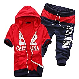Afoxsos Men\'s Short Sleeve Hooded Sweatshirts Cotton Letter Printed Sports Suits Red Size L