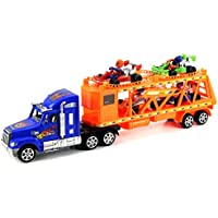Go Kart Trailer Childrens Kids Friction Toy Truck Ready To Run W/ 4 Toy Carts, No Batteries Required (Colors May...