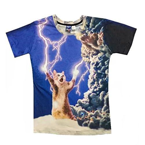 (ワイボーイジャパン)Wiboyjp メンズtシャツ 猫 ネコ 3d ヒップホップ 稲光 猫柄 トレンド クモ 雲 スウェット t shirt 3dtシャツ 半袖tシャツ L