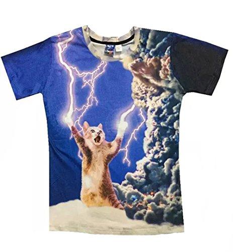 (ワイボーイジャパン)Wiboyjp メンズtシャツ 猫 ネコ 3d ヒップホップ 稲光 猫柄 トレンド クモ 雲 スウェット t shirt 3dtシャツ 半袖tシャツ S