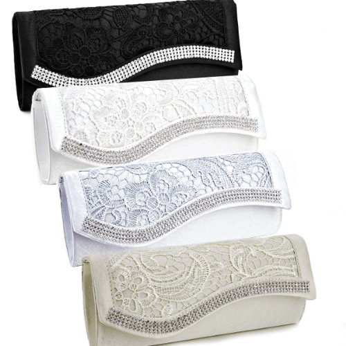 Floral Lace Satin Crystal Diamantes Evening Clutch Bag Wedding Purse Handbag