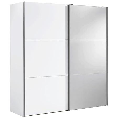 Solutions 01590-182 2-turiger Schwebeturenschrank, weiß mit Spiegel, Holz, 68 x 200 x 216 cm