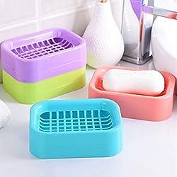 Pindia Random Color Set of 2 Double Draining Portable Grid Soap Dish Organizer Box
