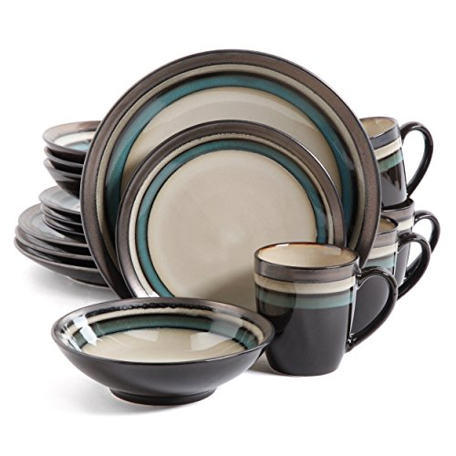 Gibson Lewisville 16 Piece Dinnerware Cream with Teal Reactive Metallic Rim, Cream/Teal