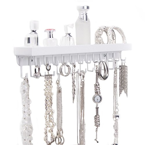 Wall mount necklace holder hanging jewelry organizer rack for Bathroom jewelry holder
